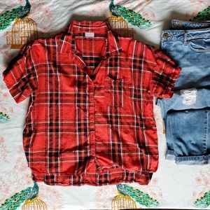 UO Abound Boxy Red Plaid Top